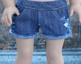 Distressed Destroyed Medium Wash Denim Jean SHORTS for 18 Inch Doll such as American Girl Doll