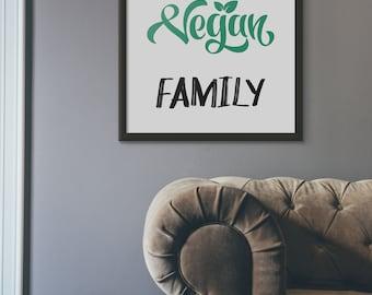 Vegan Print, Happy Vegan Family Printable Wall Art, Green Kitchen Decor, Vegan Decoration Artwork, Veggy Lifestyle Home Decor, Pdf Jpg
