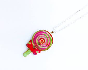 Candy Necklace - Lollipop Jewelry - Candy Jewelry - Candy Buttons - Wooden Jewelry - Wooden Button - Button Necklace - Button Jewellery
