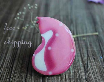 Valentines day gift for her Pink Cat brooch pin birthday idea birthday gift for girl best friend birthday gift for daughter gift for sister