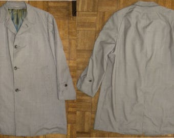 "1960's 60s Overcoat / Mens Herringbone Car Coat sharkskin lining / Vista / classic / Dapper / Dandy / 46-48"" Chest / MOD"