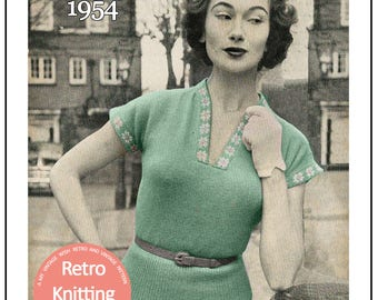 1950s Daisy Border Sweater Knitting Pattern - PDF Instant Download