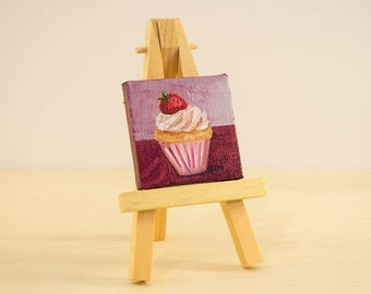 Cupcake Mini Painting, 2x2 Canvas with Easel, Oil Painting, Miniature