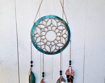 Stained Glass Dreamcatcher, Unique Suncatcher, Unique Glass Feathers, Bohemian Art Glass, Creative Gift Idea, Native American Deco