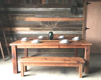 Reclaimed Wood Dining Table, Farmhouse Dining Table