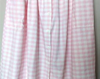 Vintage 80's pink gingham midi skirt/ Vintage summer cotton skirt/ 80's high waist circle skirt/ Boho button-up skirt/ Hipster gingham skirt