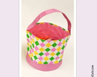 Girls Easter Basket for Easter Egg Hunting or Gifting. Personalized Easter Basket with Cute Argyle Design - Pink, Yellow, Green &White