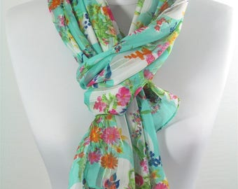 Floral Scarf Mint Scarf Shawl Infinity Scarf Lightweight Spring Summer Scarf Women Fashion Accessory Gift For Mom 30