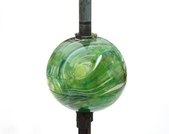 Hand Blown New Lightning Rod Glass Ball, Weathervane Ball  Green 1G