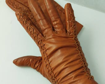 Caramel Brown Lined Gloves Real Leather Hide Ladies Women's Gloves Vintage Philippines - Size 6 1/2