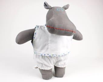 Stuffed hippo -Handmade soft doll -Dress up doll boy sleepwear -Gift for kids -Plush hippo -I want a hippopotamus for Christmas -Fabric doll