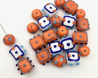 20  lampwork glass beads, halloween mix,14mm to 1mm #PV 014