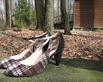 Nice Vintage Tartan/Plain heels