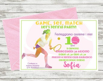 Tennis Party Personalized Invitation