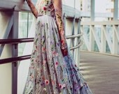 Flower wedding dress in gray, Color wedding dress with sleeves, Fabric Swatches for this dress