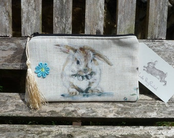 Handmade Rabbit Makeup Bag Rabbits Hare Linen Cath Kidston Rare Fabric Cosmetic Pouch Padded Lined Animals