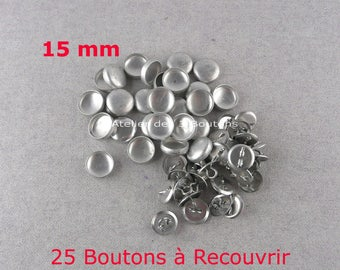 "25 Cover Buttons 5/8"" (Size 24)"