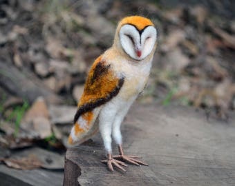 Needle Felted Barn Owl- by Harthicune