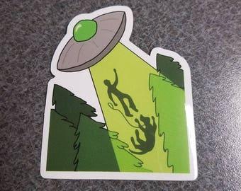 Alien UFO abduction sticker