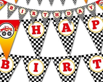 Monster Truck Party Banner | Printable Birthday Banner | INSTANT DOWNLOAD | Red and Black Birthday Pennant Banner | BR006PB
