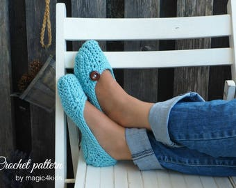 Crochet pattern- woman slippers,loafers,all women sizes,easy crochet slippers,adult,bulky yarn,buttons,quick,socks