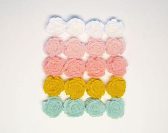 Felt flowers roses Set of 20 (pink yellow white ice blue) easter small craft scrapbooking supplies headband handmade die cut applique decors
