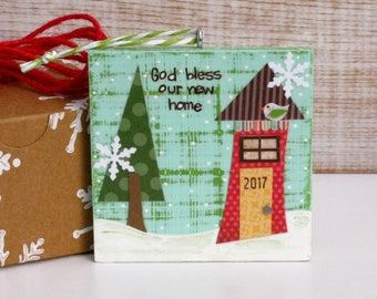 God Bless Our New Home 2017 - New House Wood Ornament - For New Homeowner - Special Occasion Ornament
