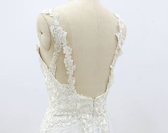 Romantic lace wedding dress Slim a line wedding dress with lace straps Custom wedding dress