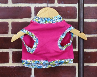 Pink Blue Floral Print Small Dog T-shirt Upcycled Sleeveless Flower Trim Spring Summer Girl or Boy Dog Ready to Ship