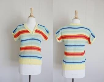 1970s Striped Knit Sweater   Rainbow Striped   Knit Top   Small