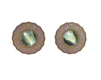 Vintage Duri Earrings, Mauve, Abalone, Gold Tone, Posts, Signed