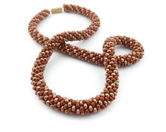 Vintage Seed Bead Necklace, Woven, Tube