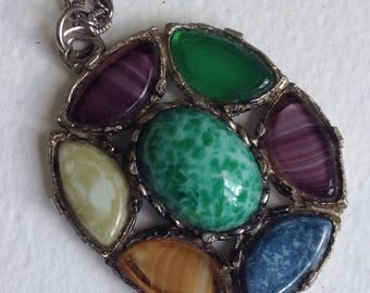 Miracle Style Faux Agate  Pendant Necklace - Rare Vintage - Mothers Day