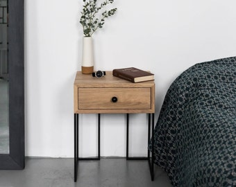 Bedside tables wood etsy for Wood and metal bedside table