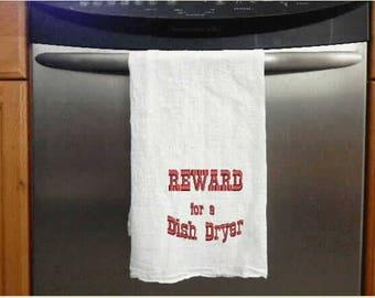 Flour Sack Tea Towel Reward for a Dish Dryer, shower gift, hand towel, kitchen towel, dish towel,kitchen linens,kitchen and dining