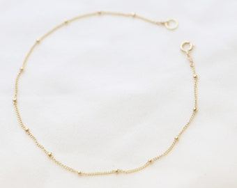 14K Gold Dainty Beaded chain Bracelet // Minimalist simple Satellite Bracelet // Jewelry gift for her // 14K Solid by E&E PROJECT