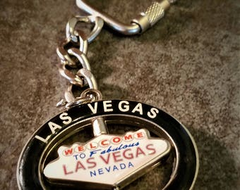 "Vintage ""Welcome to Fabulous Las Vegas"" Spinner Travel Souvenir Keychain Key Ring"