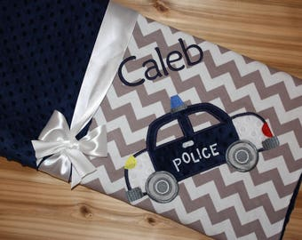 Police Car - Personalized Grey Chevron & Minky Baby Blanket with Embroidered Police Car