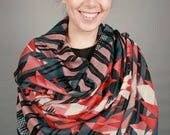 Merino Wool Print Triangles Scarf - red and charcoal