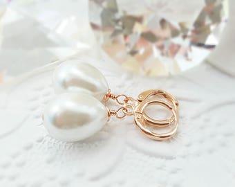 Rose Gold Teardrop Earrings - Pink Gold Earrings - Cream Pearl Earrings - Classic Pearl Bridal Earrings - Large Pearl Dangle Earrings E4412