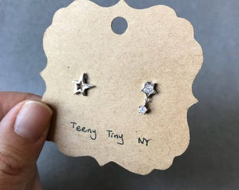 Silver Star and CZ Stars Stud Earrings - Sterling Silver