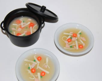 Food For American Girl Dolls. A Pot of Home-Style Chicken Noodle Soup