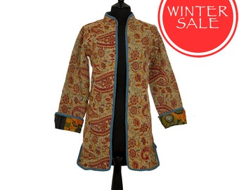 WINTER SALE - X Small size - Long Kantha Jacket - Red and beige. Reverse orange and green