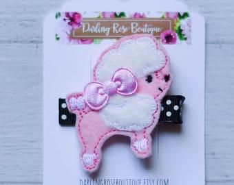 Ready to ship! Small feltie hair clip -  pink black Paris Eiffel Tower poodle feltie hair bow hairbow or headband
