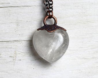Crystal Pendant Electroformed Necklace Stone Heart Jewelry Large Crystal Heart Rustic Romantic