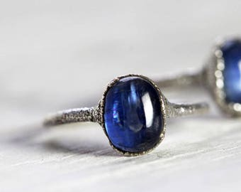 Crystal Ring Electroformed Ring Kyanite Ring Blue Crystal Ring Stone Jewelry Blue Stone Silver Ring