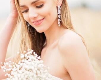 Long Bridal CZ Drop Earrings - Long Cubic Zirconia Bridal Earrings - Romantic CZ Earrings - CZ Bridal Jewelry - BZ20