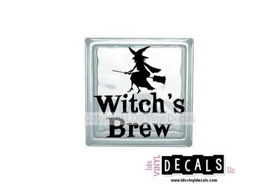 Witchs Brew Halloween Vinyl Lettering For Glass Blocks - Halloween vinyl decals for glass blocks