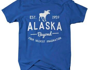 Men's Alaska State Slogan T-Shirt Beyond Your Imagination Tee Moose Shirts For Alaskans Vacation