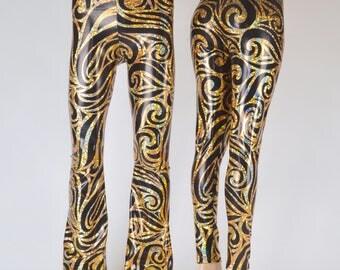 Black Holograph Hercules Pants // Rocker Print Holographic Rockstar Leggings // Great Burning Man Costume
